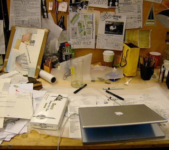 Messy desk creative